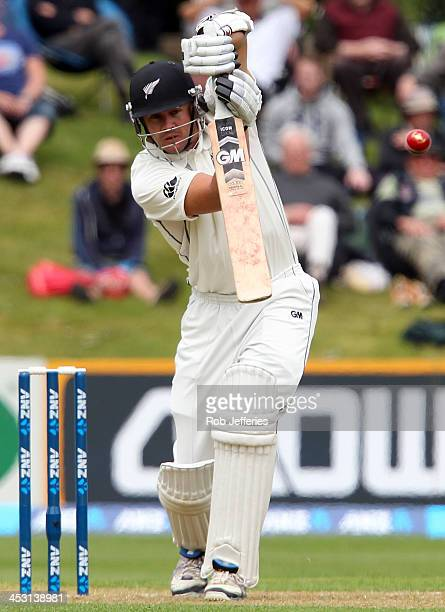 Peter Fulton of New Zealand drives the ball though midon during day one of the first test match between New Zealand and the West Indies at University...