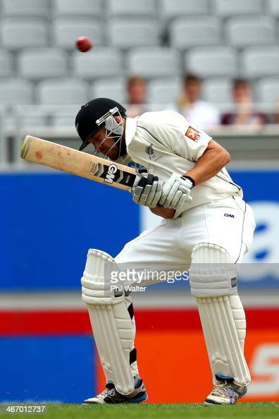 Peter Fulton of New Zealand evades a delivery during day one of the First Test match between New Zealand and India at Eden Park on February 6 2014 in...