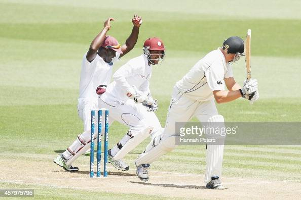 Peter Fulton of New Zealand is caught behind by Darren Sammy of the West Indies during day two of the Third Test match between New Zealand and the...