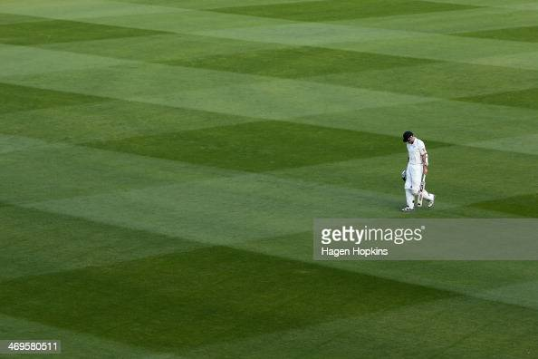 Peter Fulton of New Zealand leaves the field after being dismissed during day two of the 2nd Test match between New Zealand and India on February 15...
