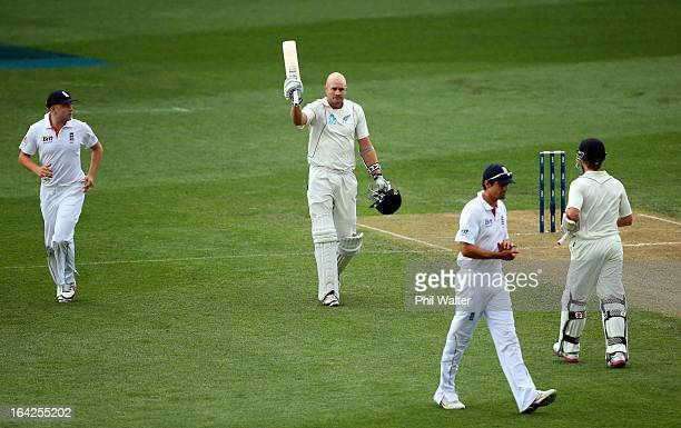 Peter Fulton of New Zealand makes his century during day one of the Third Test match between New Zealand and England at Eden Park on March 22 2013 in...