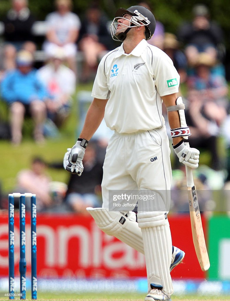 <a gi-track='captionPersonalityLinkClicked' href=/galleries/search?phrase=Peter+Fulton&family=editorial&specificpeople=658568 ng-click='$event.stopPropagation()'>Peter Fulton</a> of New Zealand reacts to his dismissal during day one of the first test match between New Zealand and the West Indies at University Oval on December 3, 2013 in Dunedin, New Zealand.