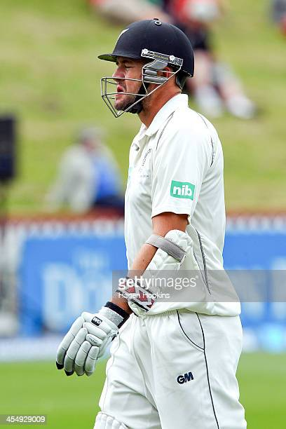 Peter Fulton of New Zealand shows his disappointment after being dismissed during day one of the Second Test match between New Zealand and the West...