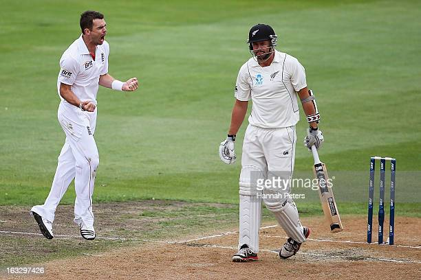 Peter Fulton of New Zealand walks off after being dimissed by James Anderson of England during day three of the First Test match between New Zealand...