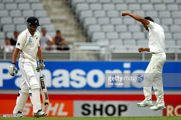 Peter Fulton of New Zealand walks off after being dismissed LBW by Zaheer Khan of India during day one of the First Test match between New Zealand...