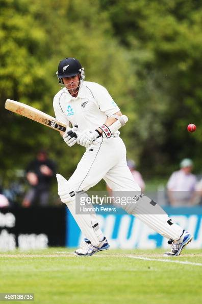 Peter Fulton of New Zealand works the ball away for four runs during day one of the first test match between New Zealand and the West Indies at...