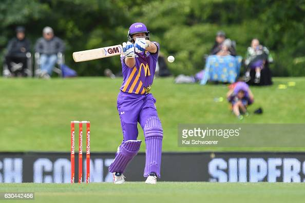 Peter Fulton of the Kings batting during the McDonalds Super Smash T20 match between Canterbury Kings and Otago Volts at Hagley Oval on December 23...