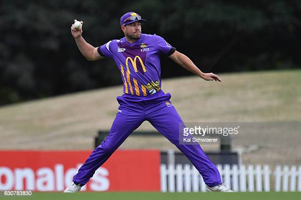 Peter Fulton of the Kings fields the ball during the McDonalds Super Smash T20 match between Canterbury Kings and Knights at Hagley Oval on January 2...