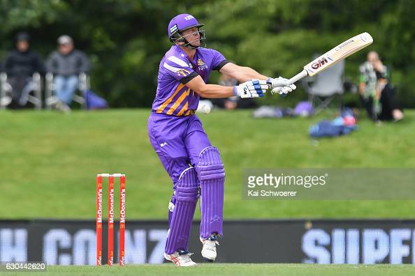 Peter Fulton of the Kings gets hit by a ball during the McDonalds Super Smash T20 match between Canterbury Kings and Otago Volts at Hagley Oval on...