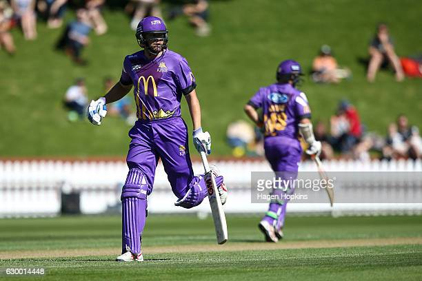 Peter Fulton of the Kings makes his ground during the McDonalds Super Smash T20 match between Wellington Firebirds and Canterbury Kings at Basin...