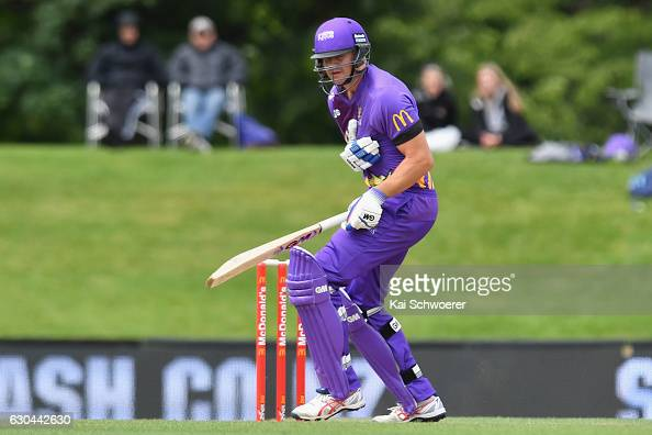 Peter Fulton of the Kings reacting after getting hit by a ball during the McDonalds Super Smash T20 match between Canterbury Kings and Otago Volts at...