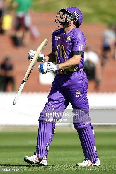 Peter Fulton of the Kings shows his disappountment after being dismissed during the McDonalds Super Smash T20 match between Wellington Firebirds and...