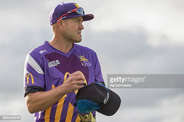 Peter Fulton of the Kings signs autographs during the McDonalds Super Smash T20 match between Canterbury Kings and Otago Volts at Hagley Oval on...