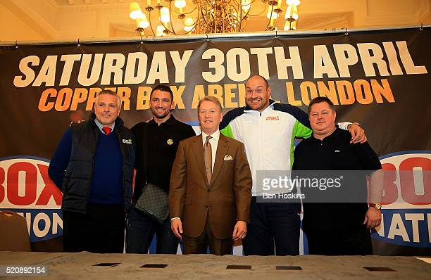 Peter Fury Hughie Lewis Fury Frank Warren Tyson Fury and Mick Hennessy pose for a picture during a Boxing Press Conference at the Landmark Hotel on...