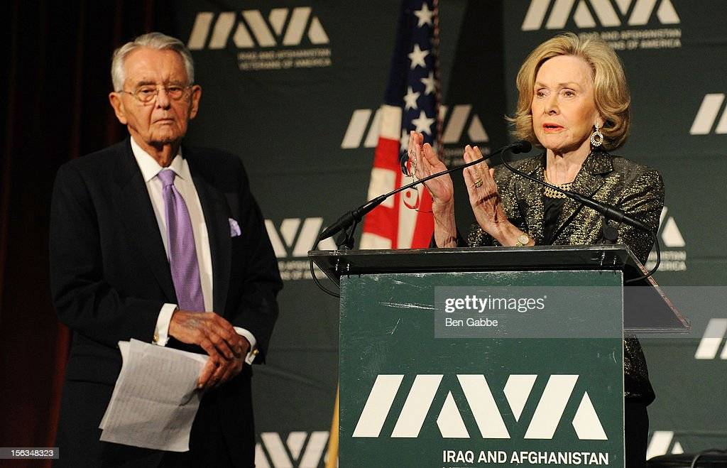 Peter G. Peterson and founder of the Sesame Street Workshop Joan Ganz Cooney speak at IAVA's Sixth Annual Heroes Gala at Cipriani 42nd Street on November 13, 2012 in New York City.