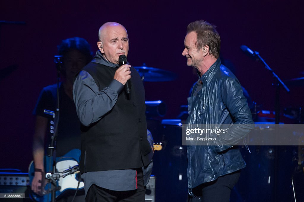 <a gi-track='captionPersonalityLinkClicked' href=/galleries/search?phrase=Peter+Gabriel&family=editorial&specificpeople=201873 ng-click='$event.stopPropagation()'>Peter Gabriel</a> (L) and <a gi-track='captionPersonalityLinkClicked' href=/galleries/search?phrase=Sting+-+Singer&family=editorial&specificpeople=220192 ng-click='$event.stopPropagation()'>Sting</a> perform on stage during the 'Rock, Paper, Scissors' North American Tour at Madison Square Garden on June 27, 2016 in New York City.