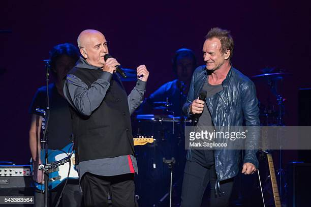 Peter Gabriel and Sting perform on stage during the 'Rock Paper Scissors' North American Tour at Madison Square Garden on June 27 2016 in New York...