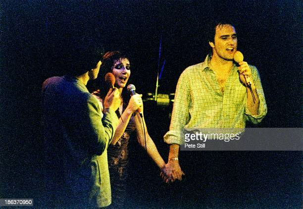 Peter Gabriel Kate Bush and Steve Harley on stage at the Bill Duffield benefit concert at Hammersmith Odeon on May 12th 1979 in London England Bill...