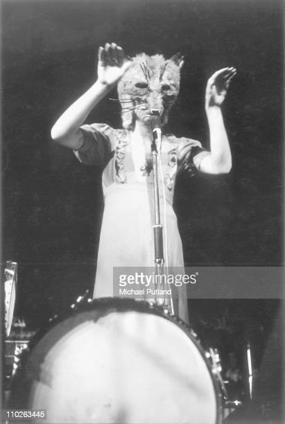 Peter Gabriel of Genesis performs on stage London 1971