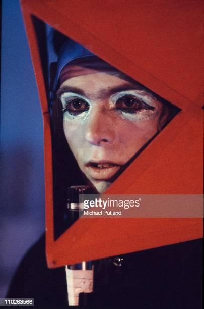 Peter Gabriel of Genesis performs on stage London 1973
