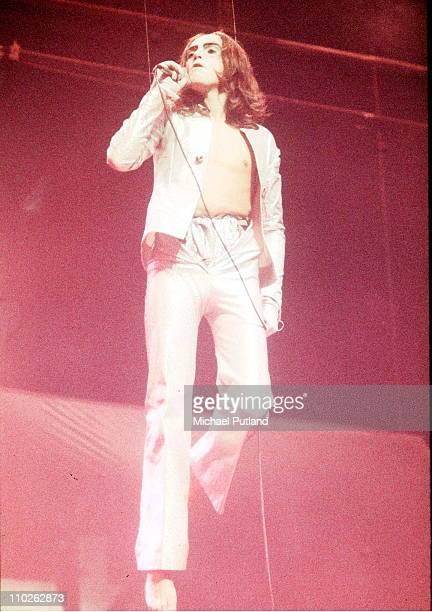 Peter Gabriel of Genesis performs on stage Theatre Royal Drury Lane London January 1974