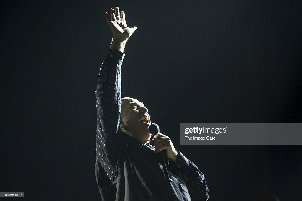 Peter Gabriel performs during his 'So' Back To Front tour at the Arena on October 8, 2013 in Geneva, Switzerland.