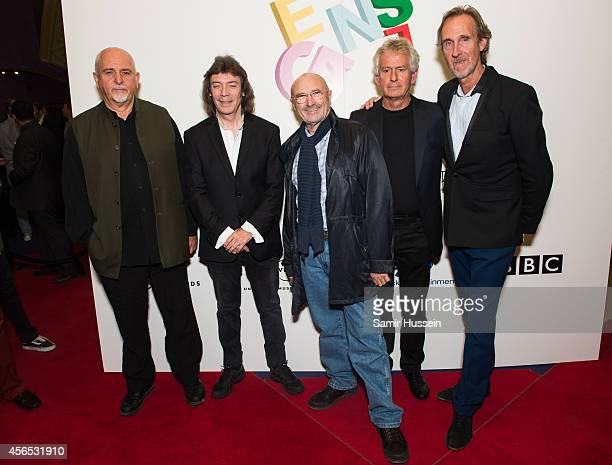 Peter Gabriel Steve Hackett Phil Collins Tony Banks and Mike Rutherford all former and current members of Genesis attend the Premiere of 'Sum Of All...