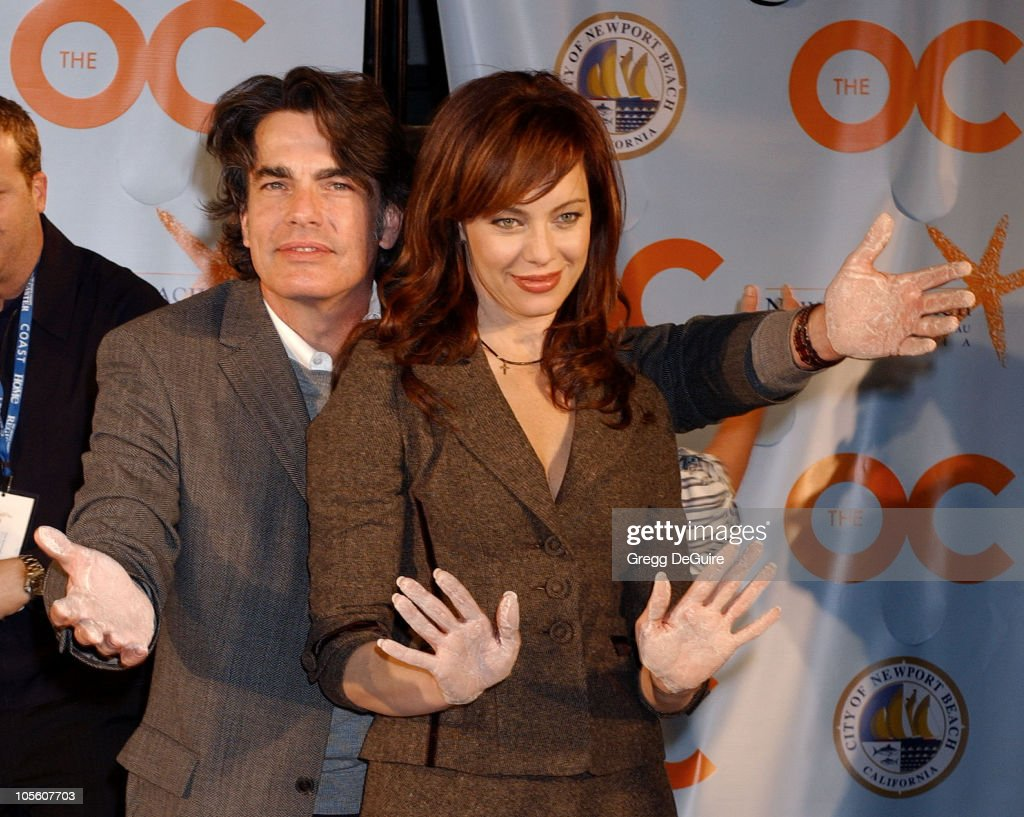 Peter Gallagher and Melinda Clarke during 'The OC' Gets Key to Newport Beach at The Historic Balboa Pavilion in Newport Beach California United States