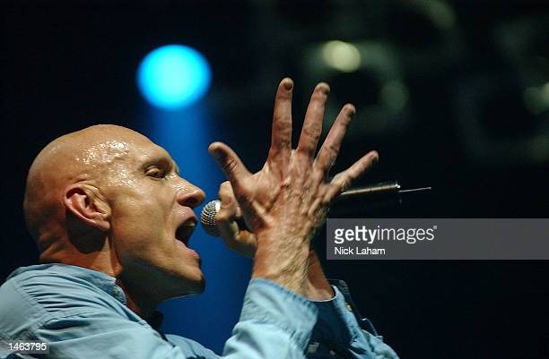 Peter Garrett of Australian rock band Midnight Oil performs during the M One rock festival held at the Sydney Showground in Sydney Australia on...