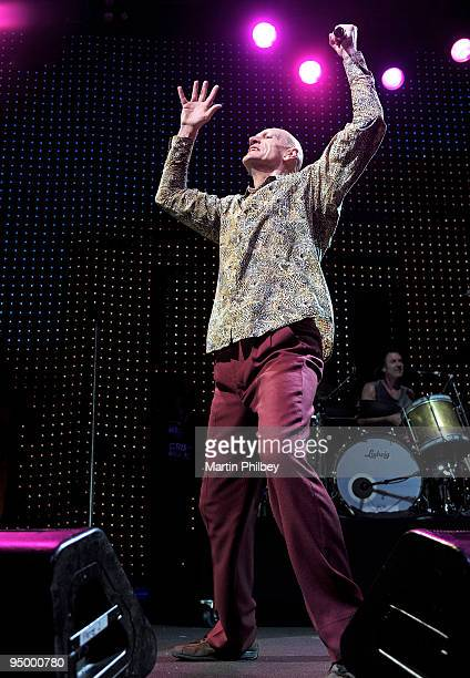 Peter Garrett of Midnight Oil performs on stage at the Sound Relief Bushfire Benefit Concert on March 14th 2009 in Melbourne Australia