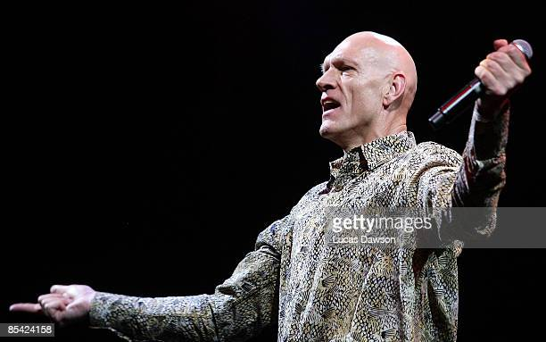 Peter Garrett of the band Midnight Oil performs on stage during the Sound Relief concert at Melbourne Cricket Ground on March 14 2009 in Melbourne...
