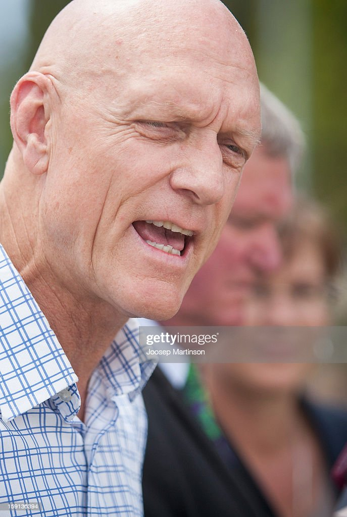 <a gi-track='captionPersonalityLinkClicked' href=/galleries/search?phrase=Peter+Garrett&family=editorial&specificpeople=213494 ng-click='$event.stopPropagation()'>Peter Garrett</a> talks to media during a press conference at Queen's Park on January 9, 2013 in Sydney, Australia. Today marks two years until the 2015 Asian Cup held in Australia.