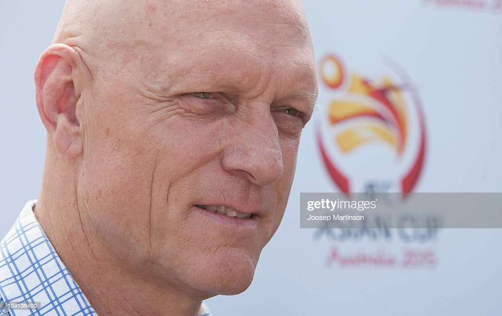 Peter Garrett talks to media during a press conference at Queen's Park on January 9, 2013 in Sydney, Australia. Today marks two years until the 2015 Asian Cup held in Australia.