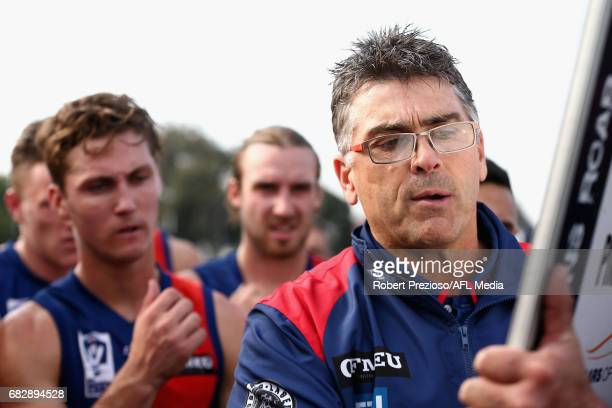 Peter German coach of Coburg speaks during the round five VFL match between Coburg and Sandringham at Pirhana Park on May 14 2017 in Melbourne...