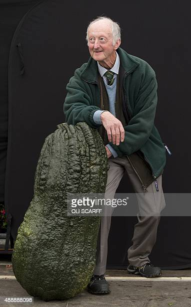 Peter Glazebrook stands with his winning 522kg entry in the 'Heaviest Marrow Competition' at the Harrogate Autumn Flower Show in northern England on...