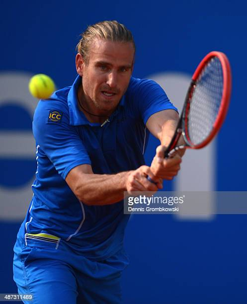 Peter Gojowczky of Germany plays a backhand during his match against Sergiy Stakhovsky of Ukraine during the BMW Open on April 29 2014 in Munich...