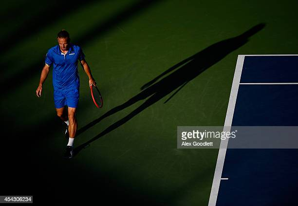 Peter Gojowczyk of Germany against Milos Raonic of Canada on Day Four of the 2014 US Open at the USTA Billie Jean King National Tennis Center on...