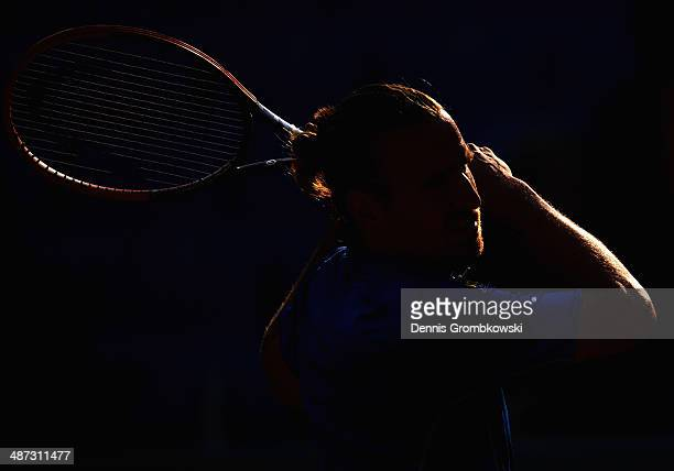 Peter Gojowczyk of Germany plays a forehand during his match against Sergiy Stakhovsky of Ukraine during the BMW Open on April 29 2014 in Munich...