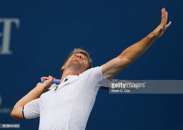 Peter Gojowczyk of Germany serves to Kyle Edmund of Great Britain during the BBT Atlanta Open at Atlantic Station on July 27 2017 in Atlanta Georgia