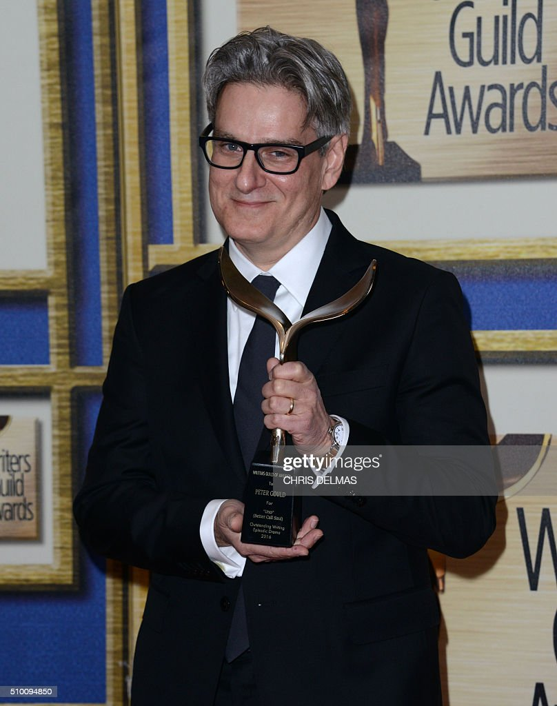Peter Gould poses in the press room at the Writers Guild Awards, in Century City, California, February 13, 2016 / AFP / CHRIS DELMAS