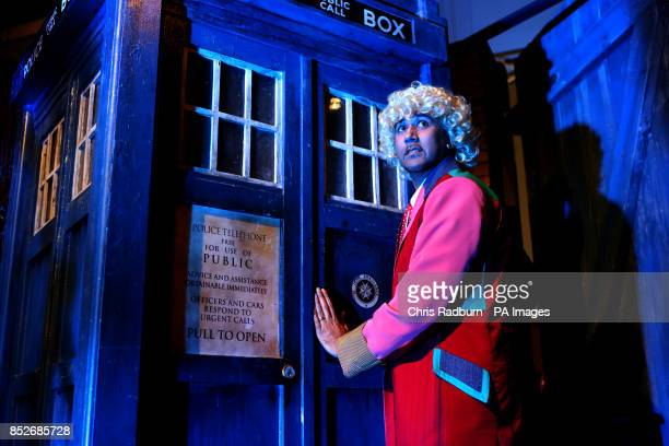 Peter Goulding from Romford Essex dresses as his favorite Doctor entering the TARDIS during a visit to the Doctor Who Official 50th Celebration at...