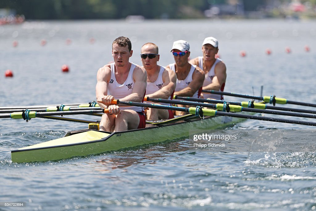 Peter Graves, John Graves, Benjamin Dann and Benjamin Davison of the United States of America compete in the Men's Quadruple Sculls heats during day 1 of the 2016 World Rowing Cup II at Rotsee on May 27, 2016 in Lucerne, Switzerland.
