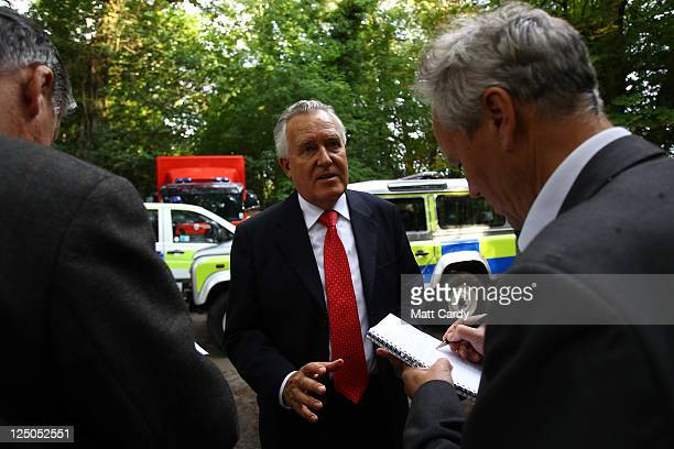 Peter Hain MP for Neath arrives to speak to media as rescue workers try to rescue four Welsh miners that have been trapped 300ft underground after a...