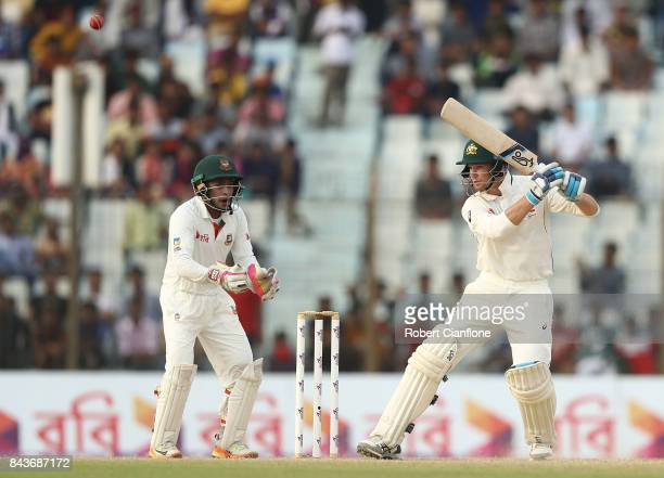 Peter Handscomb of Australia bats during day four of the Second Test match between Bangladesh and Australia at Zahur Ahmed Chowdhury Stadium on...