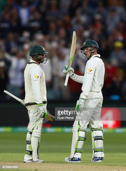 Peter Handscomb of Australia celebrates after reaching his half century on debut during day two of the Third Test match between Australia and South...