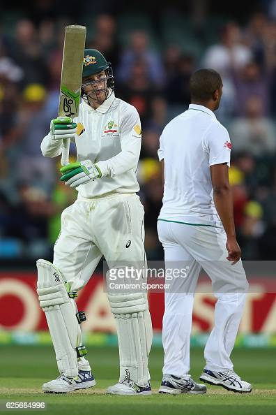 Peter Handscomb of Australia celebrates after scoring a half century during day two of the Third Test match between Australia and South Africa at...