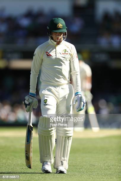 Peter Handscomb of Australia looks dejected after being dismissed by James Anderson of England during day two of the First Test Match of the 2017/18...
