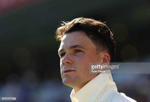 Peter Handscomb of Australia looks on during day two of the First Test Match of the 2017/18 Ashes Series between Australia and England at The Gabba...