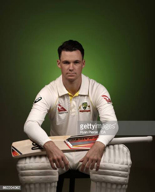 Peter Handscomb of Australia poses during the Australia Test cricket team portrait session at Intercontinental Double Bay on October 15 2017 in...