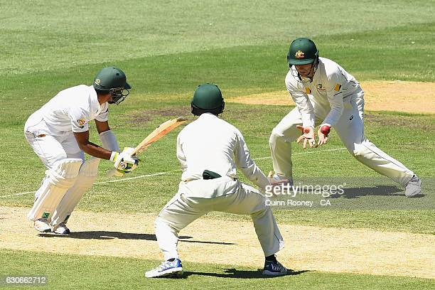 Peter Handscomb of Australia takes a catch to dismiss Asad Shafiq of Pakistan during day five of the Second Test match between Australia and Pakistan...